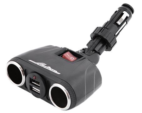 Разветвитель прикуривателя +2 USB 12В AIRLINE трансформер на 2 выхода  (ASP2TU08)