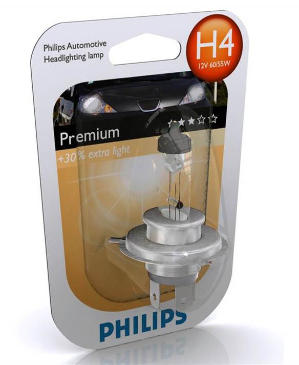 Лампа H 4  12V 60/55W P43 PHILIPS Premium+30%  12342PRB1 B