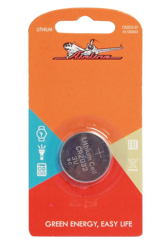 Батарейка CR2032 3V для брелока сигнализаций литиева  AIRLINE  CR203201 1шт.  $