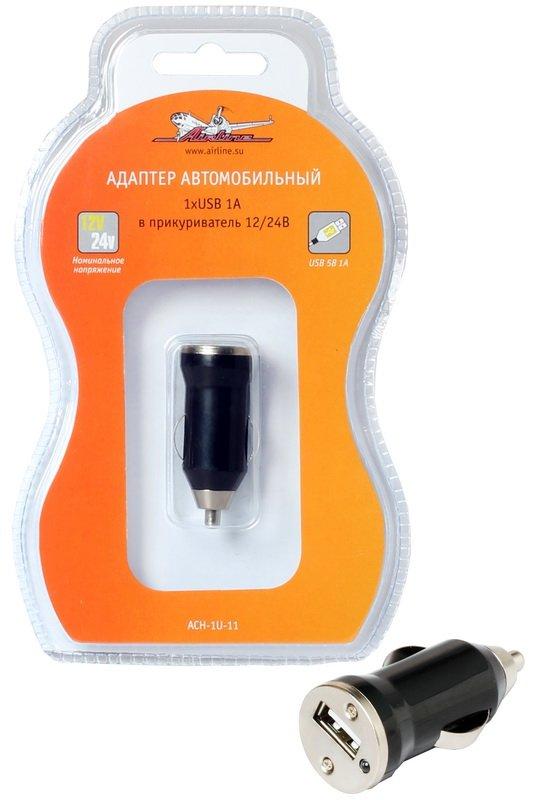 Адаптер автомобильный в прикуриватель 1хUSB 1А 12/24V  AIRLINE  ACH1U11