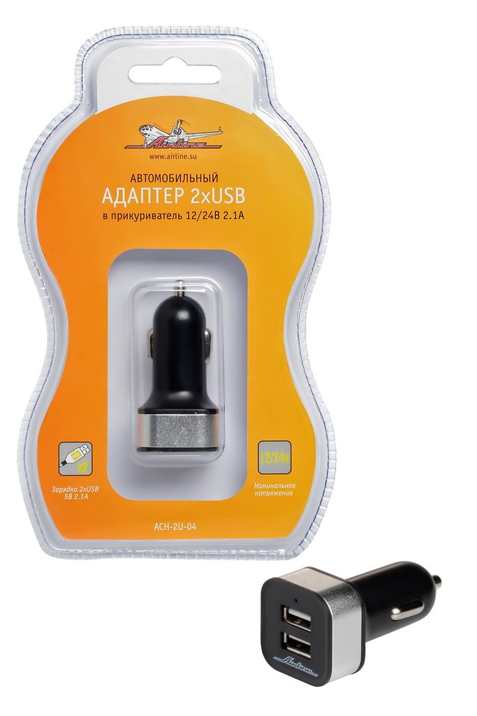 Адаптер автомобильный в прикуриватель 2хUSB 2.1А 12/24V  AIRLINE  ACH2U04  $