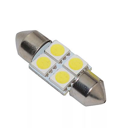 Светодиодная Лампа 12V C5W 4SMD 5050 36мм GrandeLight GL-12-C5W-4SMD-5050-36 фас.10шт
