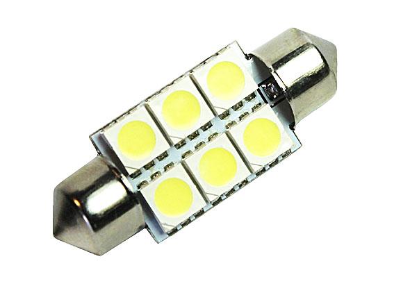Светодиодная Лампа 12V C5W 6SMD 5050 36мм GrandeLight GL-12-C5W-6SMD-505036 фас.10шт