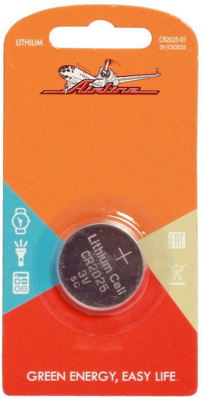 Батарейка CR2025 3V для брелоков сигнализаций литиевая  AIRLINE  CR202501 1 шт.