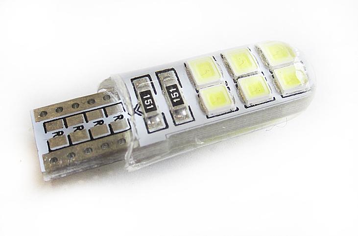 Светодиодная Лампа 12V T10 W5W 12SMD 2835 PCB силикон GrandeLight GL-12-T10-12SMD-2835-PCB фас.10шт