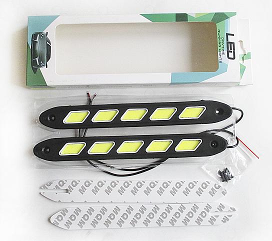 Дневные ходовые огни 5 COB 12v ромб желтый диод корпус резина (260*6*30) мм GL4014