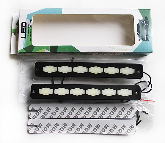Дневные ходовые огни 6 COB 12v 3,5w белый диод корпус резина (230*6*30) мм GL4020