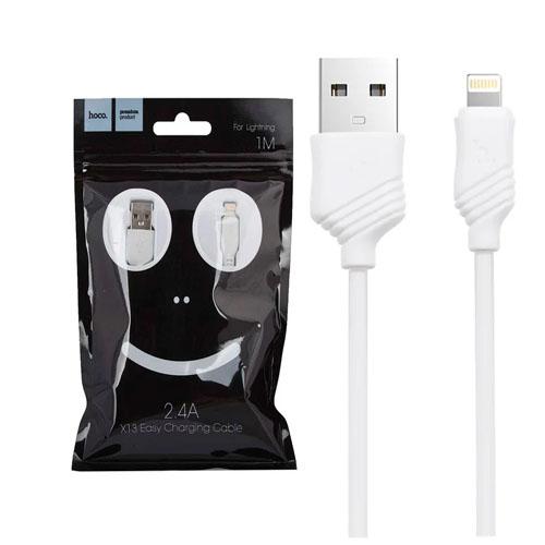 USB кабель HOCO Easy Lightning 8-pin, пропускная способность  2,4 А длина кабеля 1м, белый GL-3012