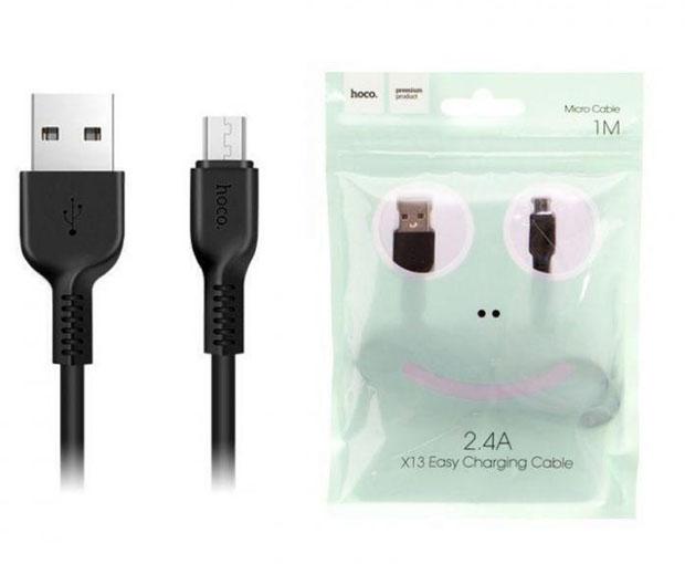 USB кабель HOCO Easy MicroUSB, пропускная способность  2,4 А длина кабеля 1м, черный GL-3013