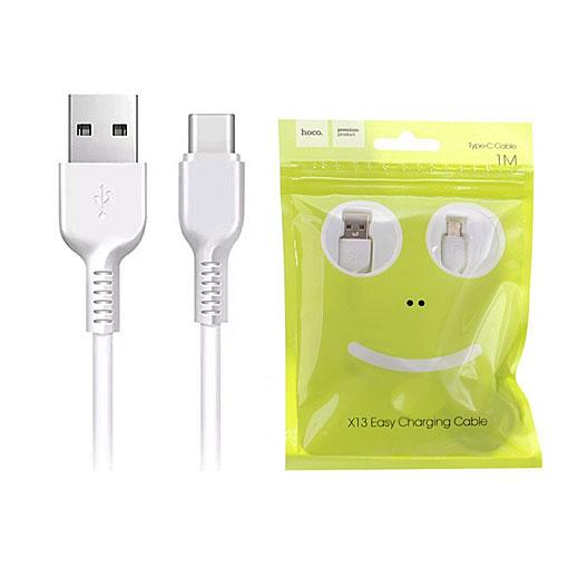 USB кабель HOCO Easy Type-C, пропускная способность  3 А длина кабеля 1м белый GL-3016